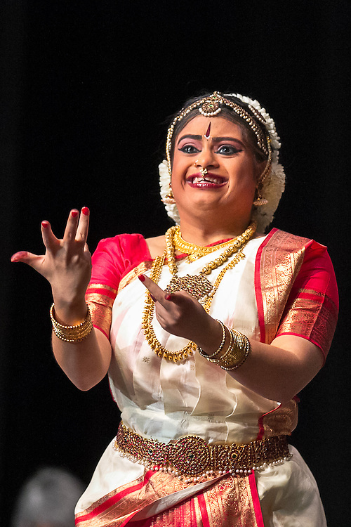 Lincroft, New Jersey, 9/20/14: Hema Ramaswamy, a young Indian American woman with Down syndrome, performs her arangetram, the public presentation of bharata natyam, a traditional South Indian dance form. She studied in preparation for this recital for four and a half years.