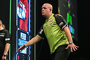 Michael van Gerwen misses a dart at a double during the PDC World Darts Championship at The MotorPoint Arena, Cardiff. Pictures taken by Shane Healey.