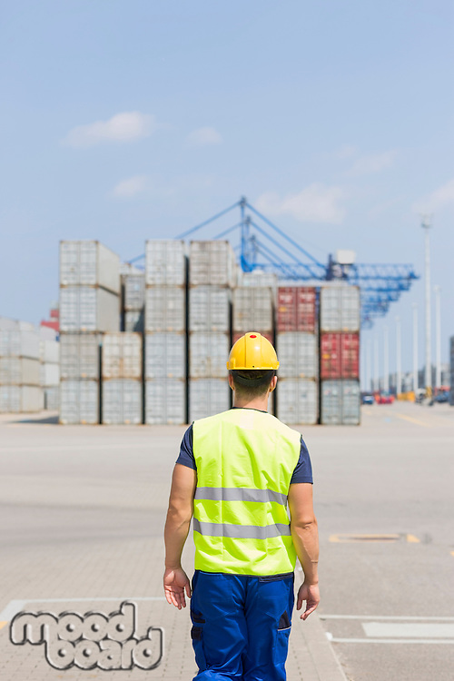 Rear view of mid adult worker walking in shipping yard