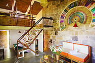 A cabaña of stone and bamboo in hotel Tosepan Kali, Cuetzalan, México