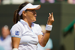 LONDON, ENGLAND - Tuesday, July 1, 2008: Tamarine Tanasugarn (THA) counts the cost of her numerous break-point failures during her Ladies' Singles Quarter-Final on day eight of the Wimbledon Lawn Tennis Championships at the All England Lawn Tennis and Croquet Club. (Photo by David Rawcliffe/Propaganda)