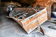 "A ""balsa cubana"" boat, which was used by 33 Cubans to successfully cross from Cuba to Loggerhead Key in 2007, qualifying for dry foot immigration. On display at Fort Jefferson, Dry Tortugas National Park, FLorida."