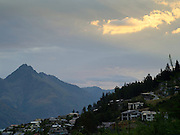 View from Frankton, Otago, New Zealand toward Mount Turnbull, dusk.