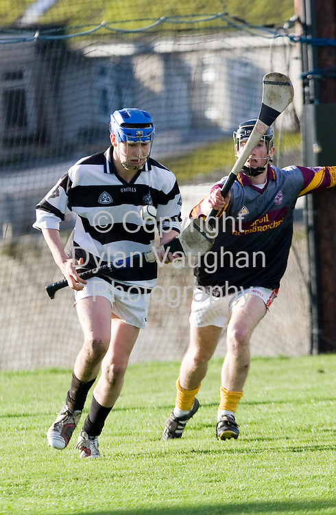 28/11/207.Pictured in action at the St Kierans College V CBS Kilkenny match in Kilkenny yesterday was St Kierans Shay Butler (near) and CBS Kilkenny's John Traynor..Picture Dylan Vaughan.