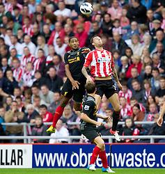 SUNDERLAND, ENGLAND - Saturday, September 15, 2012: Liverpool's Glen Johnson in action against Sunderland during the Premiership match at the Stadium of Light. (Pic by Vegard Grott/Propaganda)