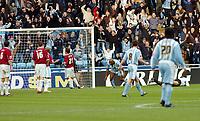 Photo: Kevin Poolman.<br />Coventry City v Burnley. Coca Cola Championship. 25/02/2006. <br />Dele Adebola scores for Coventry.