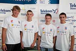Jaka Muhar, Zan Rudolf, Mitja Lindic and Uros Jovanovic at press conference of Slovenian young athletes before 13th IAAF World Junior  (U-19) Championships 19-25 July, 2010 in Moncton, Canada, on July 15, 2010 in Ljubljana, Slovenia. (Photo by Vid Ponikvar / Sportida)