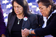"07 DECEMBER 2010 - PHOENIX, AZ:  DOLORES HUERTA, left, and ROSA MARIA SOTO pray during a fast in support of the DREAM Act at the offices of US Sen. John McCain in Phoenix, Tuesday. Huerta, who started working in the civil rights movement in the 1960's, threw her support behind students fasting on behalf of the DREAM Act in front of Sen. John McCain's office Tuesday. The student picked McCain's office because he used to support the DREAM Act. They hope that the US Senate will pass the DREAM Act during its ""lame duck"" session. The Senate debated and defeated similar legislation just before the November general election.    PHOTO BY JACK KURTZ"