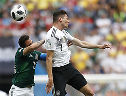 MOSCOW, June 17, 2018  Julian Draxler (R) of Germany vies with Andres Guardado of Mexico during a group F match between Germany and Mexico at the 2018 FIFA World Cup in Moscow, Russia, June 17, 2018. (Credit Image: © Cao Can/Xinhua via ZUMA Wire)