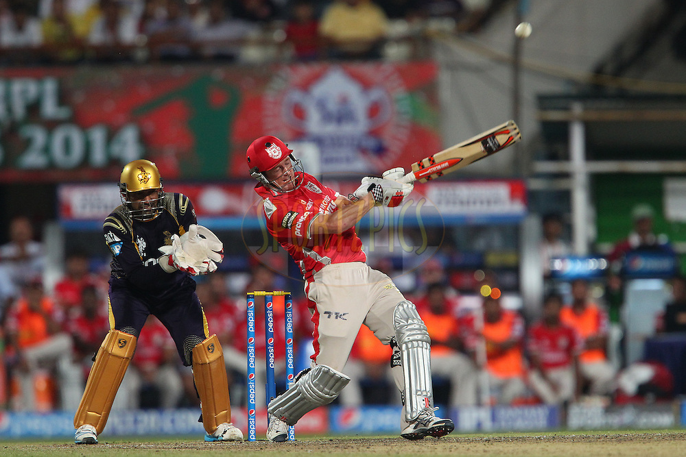 George Bailey of the Kings X1 Punjab hits out in the 19th over during the first qualifier match (QF1) of the Pepsi Indian Premier League Season 2014 between the Kings XI Punjab and the Kolkata Knight Riders held at the Eden Gardens Cricket Stadium, Kolkata, India on the 28th May  2014<br /> <br /> Photo by Ron Gaunt / IPL / SPORTZPICS<br /> <br /> <br /> <br /> Image use subject to terms and conditions which can be found here:  http://sportzpics.photoshelter.com/gallery/Pepsi-IPL-Image-terms-and-conditions/G00004VW1IVJ.gB0/C0000TScjhBM6ikg