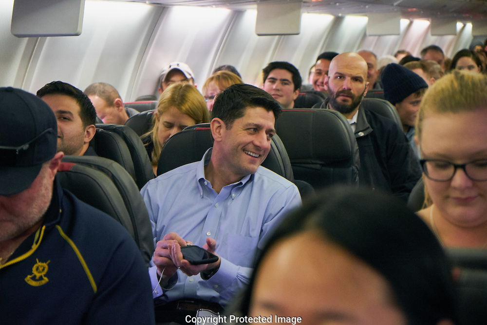 House Speaker Paul Ryan in an airplane before taking off in Washington D.C. the day after the presidential inauguration, Saturday, Jan. 21, 2017. (Photo/John Froschauer)