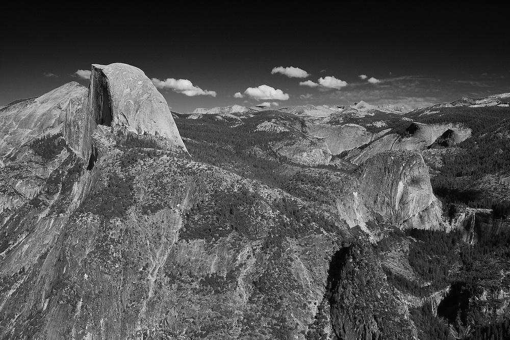 Half Dome - Liberty Cap - Nevada Falls - Vernal Falls - Glacier Point View - Yosemite - Black & White