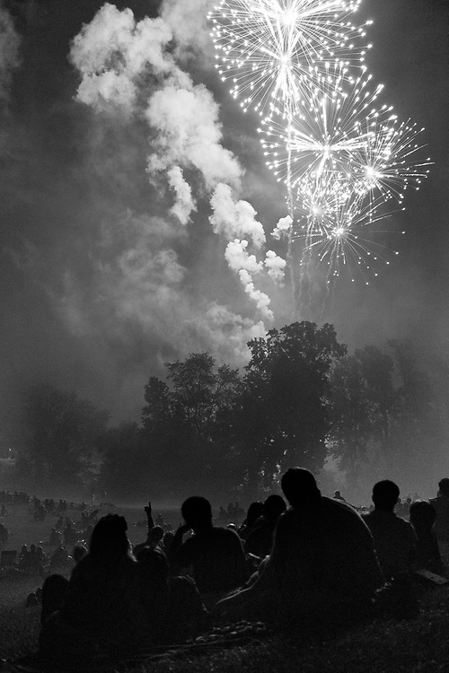 A crowd gathered on a hill for the 4th of July fireworks celebration in Evesham Township (Marlton) New Jersey.