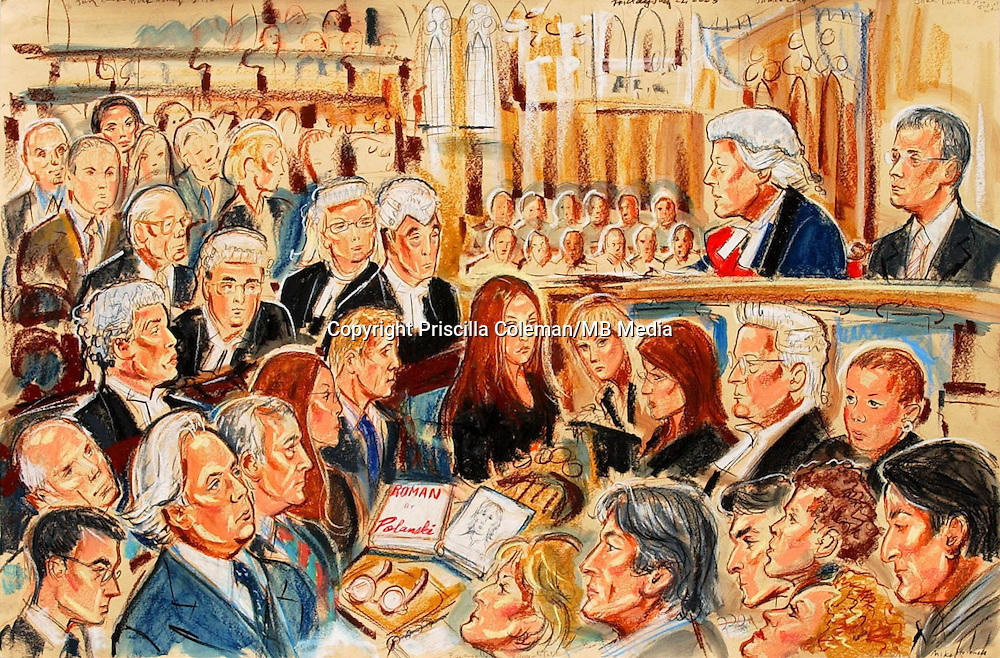 ©Priscilla Coleman ITV News 22.07.05..Supplied by: Photonews Service Ltd Old Bailey..Pic shows: A scene from the Roman Polanski libel trial against Vanity Fair magazine. Polanski won his case today and was awarded £50,000. See story..Illustration: Priscilla Coleman ITV News..