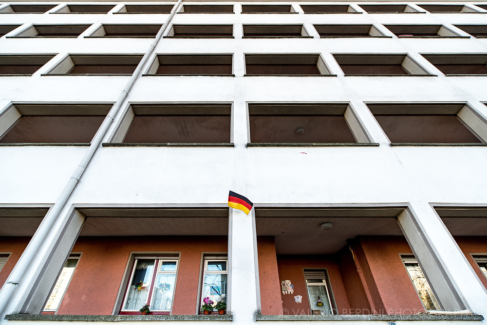 A block of flat, constructed by the Socialist government of GDR (East Germany) in Karl Marx Strasse, in East Berlin.
