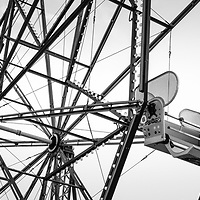Newport Beach California Balboa Fun Zone Ferris Wheel and toy soldier black and white panorama photo.  The Ferris Wheel has been a popular attraction in the Balboa Fun Zone since 1936. Newport Beach is a coastal city along the Pacific Ocean in beautiful Orange County Southern California. Copyright ⓒ 2017 Paul Velgos with All Rights Reserved.