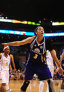 June 4, 2010; Phoenix, AZ, USA; Los Angeles Sparks forward Candace Parker rects to a call during the first half in at US Airways Center.  Mandatory Credit: Jennifer Stewart-US PRESSWIRE