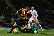 Bradford City forward James Hanson (9) claims a penalty under the challenge of Northampton Town goalkeeper David Cornell (26)  during the EFL Sky Bet League 1 match between Bradford City and Northampton Town at the Coral Windows Stadium, Bradford, England on 22 November 2016. Photo by Simon Davies.