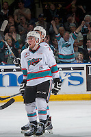 KELOWNA, CANADA - APRIL 1: Rourke Chartier #14 of Kelowna Rockets celebrates a goal against the Kamloops Blazers on April 1, 2016 at Prospera Place in Kelowna, British Columbia, Canada.  (Photo by Marissa Baecker/Shoot the Breeze)  *** Local Caption *** Rourke Chartier;