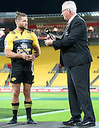 Hurricanes' Cory Jane is handed his Mere, awarded for 100 matches for the Hurricanes during the Round 7 Super Rugby match, Hurricanes  v Jaguares at Westpac Stadium, Wellington. 9th April 2016. Copyright Photo.: Grant Down / www.photosport.nz