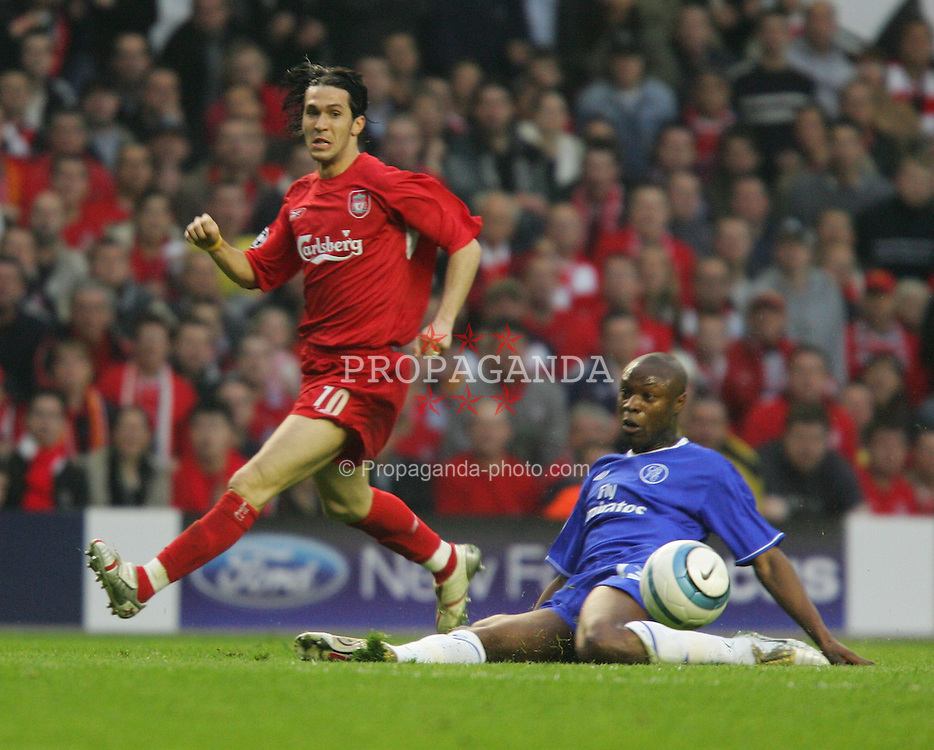 LIVERPOOL, ENGLAND. TUESDAY, MAY 3rd, 2005: Liverpool's Luis Garcia and Chelsea's William Gallas during the UEFA Champions League Semi Final 2nd Leg at Anfield. (Pic by David Rawcliffe/Propaganda)