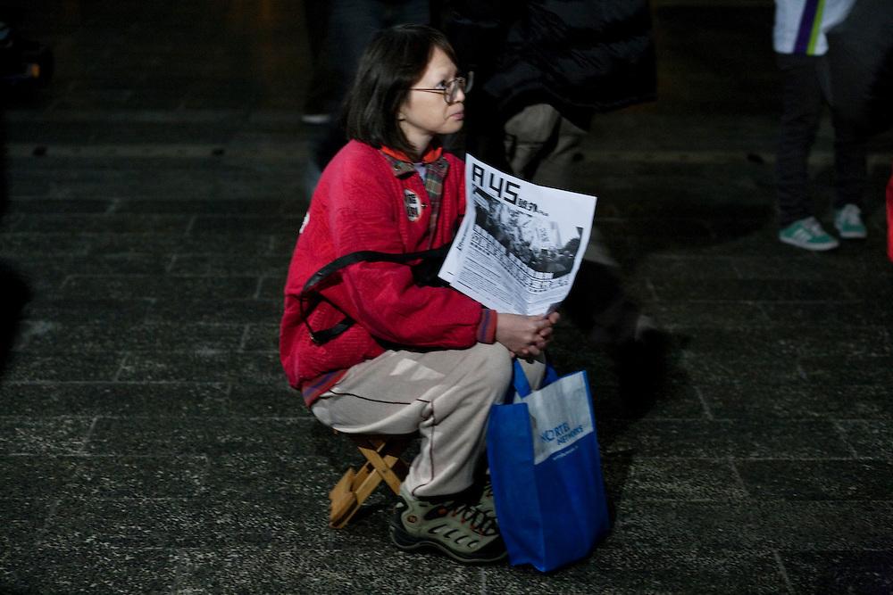 A supporter at the pan-democrats rally in Hong-kong. Tuesday 26 ,january 2010.
