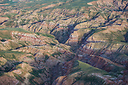 McCullough Peaks badlands from above in early summer