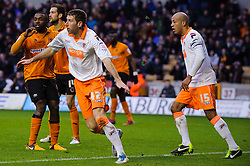 Blackpool Defender Kirk Broadfoot (SCO) appeal for a shove in the box during the second half of the match - Photo mandatory by-line: Rogan Thomson/JMP - Tel: Mobile: 07966 386802 26/01/2013 - SPORT - FOOTBALL - Molineux Stadium - Wolverhampton. Wolverhampton Wonderers v Blackpool - npower Championship.