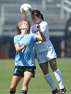 Ole Miss' Erin Emerson (3) vs. The Citadel's Grace Raines (8) in women's soccer action at the Ole Miss Soccer Field in Oxford, Miss. on Monday, September 12, 2011. Ole Miss won 6-1.