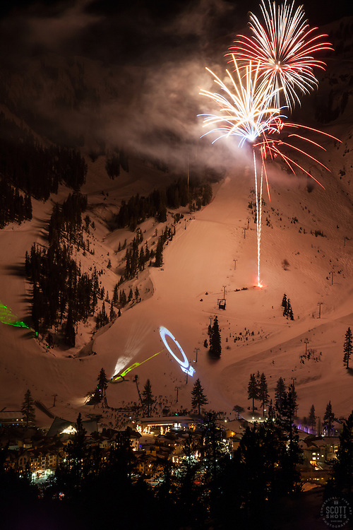 """Fireworks at Squaw Valley 4"" - Photograph of the fireworks show at Squaw Valley Ski Resort during the 2013 North Tahoe SnowFest."