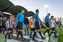 Players entering pitch before football match between NŠ Mura and NK Maribor in semifinal Round of Pokal Telekom Slovenije 2018/19, on April 24, 2019 in Fazanerija, Murska Sobota, Slovenia. Photo by Blaž Weindorfer / Sportida