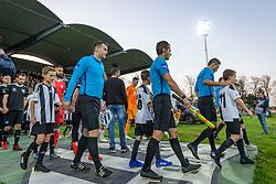 Players entering pitch before football match between NŠ Mura and NK Maribor in semifinal Round of Pokal Telekom Slovenije 2018/19, on April 24, 2019 in Fazanerija, Murska Sobota, Slovenia. Photo by Blaž Weindorfer / Sportida
