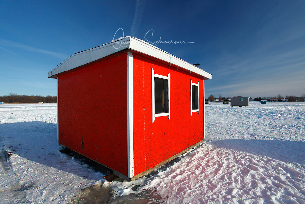 Icefishing cabin on the St.Lawrence River, P.Quebec,Canada,