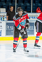 KELOWNA, CANADA - OCTOBER 10: Damon Severson #7 of the Kelowna Rockets warms up on the ice as the Spokane Chiefs visit the Kelowna Rockets on October 10, 2012 at Prospera Place in Kelowna, British Columbia, Canada (Photo by Marissa Baecker/Shoot the Breeze) *** Local Caption ***