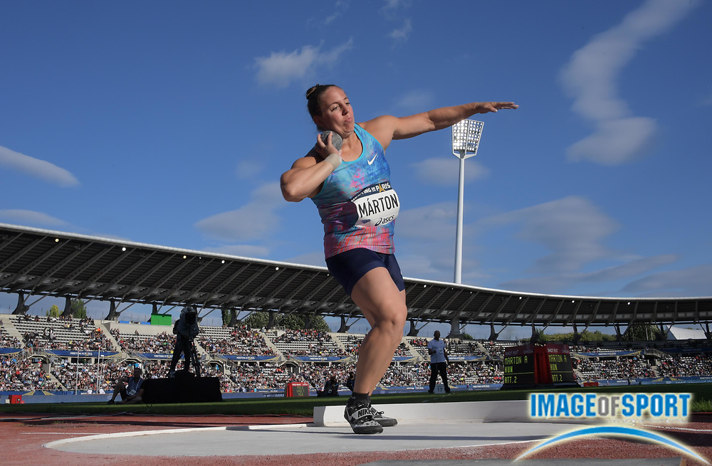 Jul 1, 2017; Paris, France; Anita Marton (HUN) places second in the women's shot put at 60-7 3/4 (18.48m) during the Meeting de Paris in an IAAF Diamond League meet at Stade Charlety.