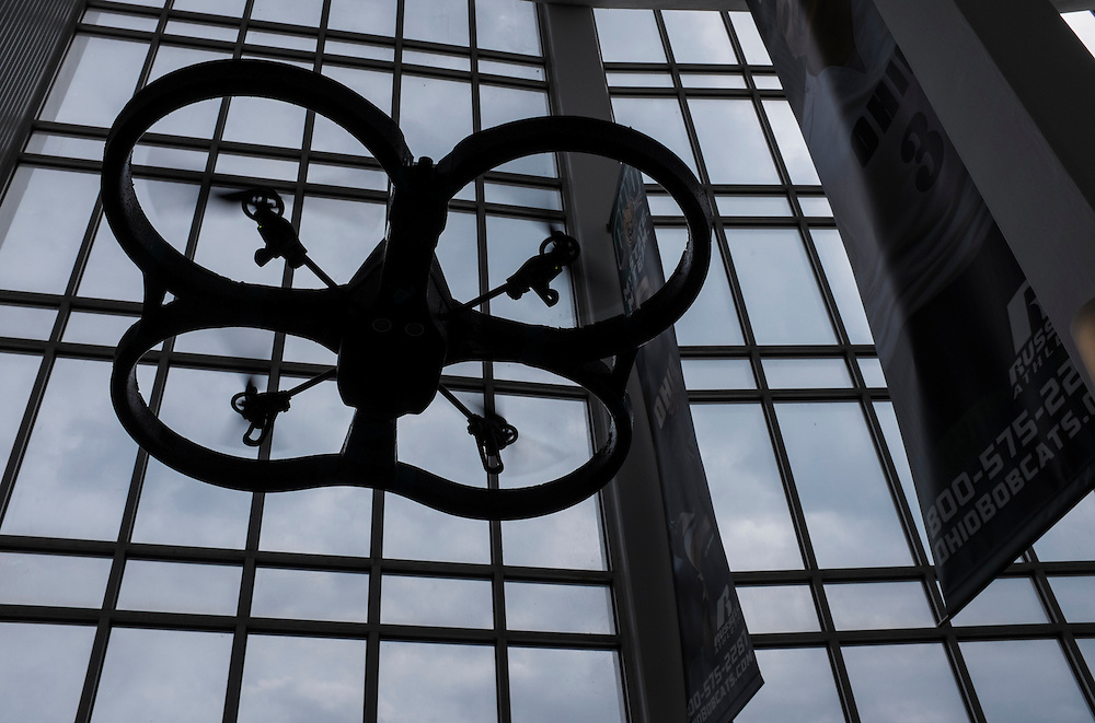 A drone hovers above the student exhibits in the Convocation Center during the Ohio University Student Expo on Thursday, April 10, 2015.  Photo by Ohio University  /  Rob Hardin
