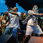 WASHINGTON, DC - August 17th, 2013 -  A$AP Rocky (right) makes a surprise appearance during A$AP Ferg's set  at the 2013 Trillectro Festival at the Half Street Fairgrounds in Washington, D.C.  (Photo by Kyle Gustafson / For The Washington Post)