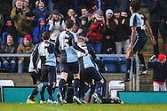 Paris Cowan-Hall of Wycombe Wanderers celebrates scoring the opening goal against Wycombe Wanderers during the Sky Bet League 2 match at Adams Park, High Wycombe<br /> Picture by David Horn/Focus Images Ltd +44 7545 970036<br /> 26/12/2014