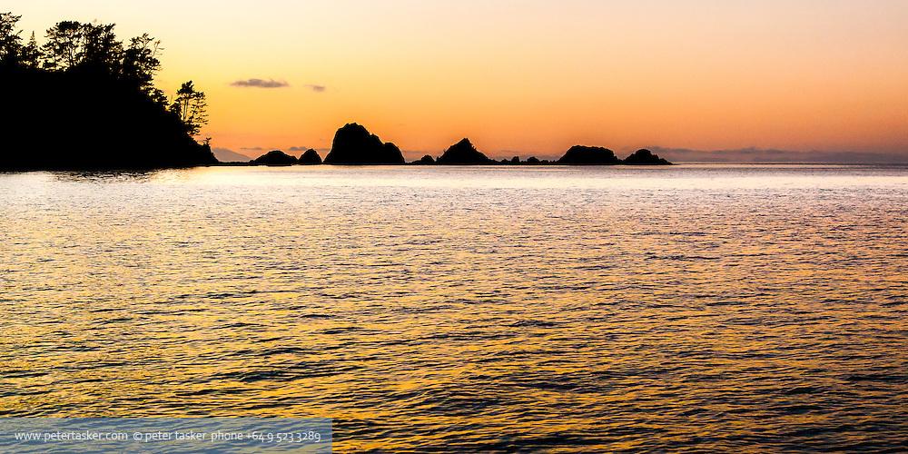 Moturekareka Island, Hauraki Gulf, Auckland, New Zealand. Early winter morning, western end.