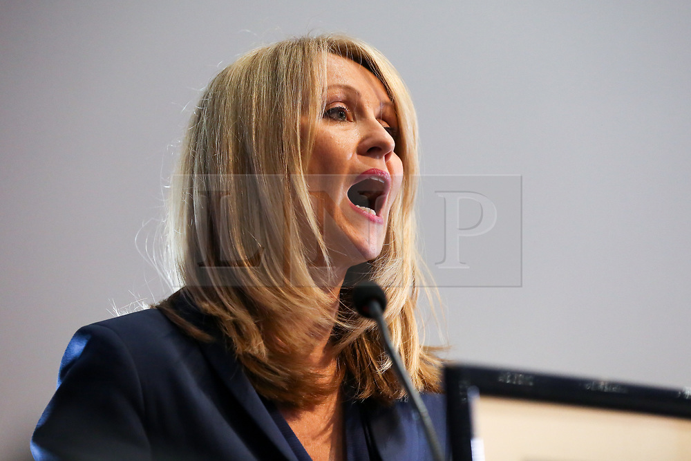 """© Licensed to London News Pictures. 10/06/2019. London, UK. Esther McVey MP, candidate for the leadership of the Conservative Party and to become Prime Minister speaks at the Bruges Group's """"Brexit Leadership"""" event in Westminster. The Bruges Group is a think tank based in the UK, it advocates for a restructuring of Britain's relationship with the European Union and other European countries. Photo credit: Dinendra Haria/LNP"""