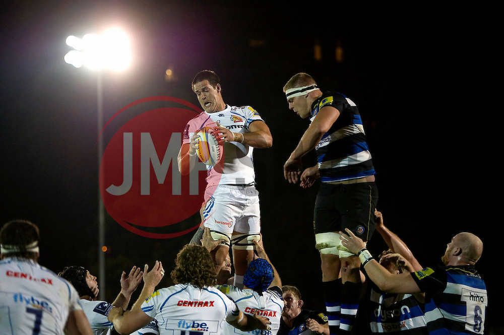 Ollie Atkins of Exeter Chiefs wins the ball at a lineout - Mandatory byline: Patrick Khachfe/JMP - 07966 386802 - 10/10/2015 - RUGBY UNION - The Recreation Ground - Bath, England - Bath Rugby v Exeter Chiefs - West Country Challenge Cup.