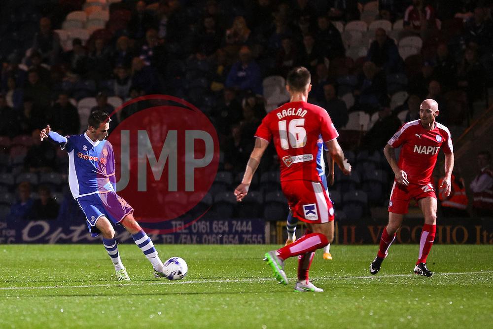 Scott Tanser of Rochdale scores the opening goal  - Mandatory byline: Matt McNulty/JMP - 07966 386802 - 06/10/2015 - FOOTBALL - Spotland Stadium - Rochdale, England - Rochdale v Chesterfield - Johnstones Paint Trophy
