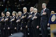 29 December-New York, NY: (L-R) NYPD Commissioner William Bratton New York City Mayor Bill DeBlasio and other top brass of the New York Police Department attend the 2014 New York Police Academy Graduation Ceremony held at Madison Square Garden on December 29, 2014 in New York City.  (Photo by Terrence Jennings/terrencejennings.com)