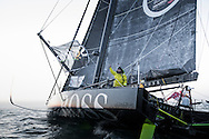The Vendee Globe 2016 - 2017<br /> British yachtsman Alex Thomson skipper of the &lsquo;Hugo Boss&rdquo;  IMOCA Open60. He finished 2nd in the Vendee Globe solo non stop around the world yacht race. Shown here in the Sables d Olonne port celebrating. He completed the solo non stop around the world race in 74days. 19hours and 35 minutes<br /> <br /> Photo by Lloyd Images