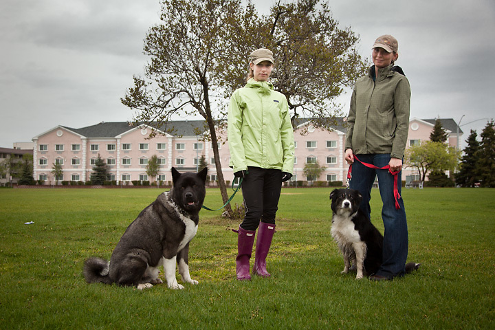 Greer Gehler (left), with 2 year old Kuma and Jenny Davis with 5 year old Kodi on the Delaney Park Strip, downtown Anchorage