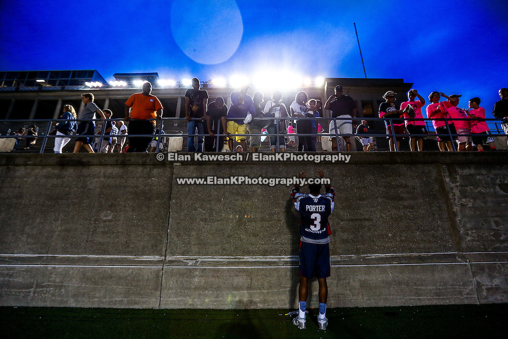 Brendan Porter #3 of the Boston Cannons greets his fans following the game at Harvard Stadium on July 19, 2014 in Boston, Massachusetts. (Photo by Elan Kawesch)