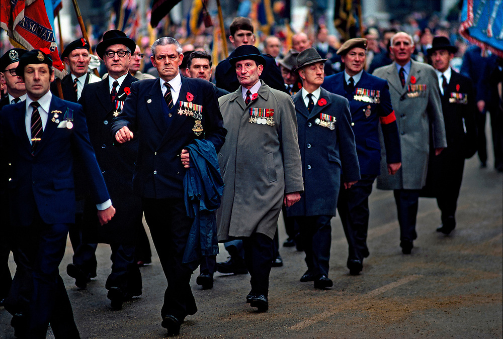 British veterans of the World War II, in which nearly a half-million Britons -- military and civilian -- were killed, parade through London on November 11, 1976 after the National Service of Remembrance.  © Steve Raymer / National Geographic Creative