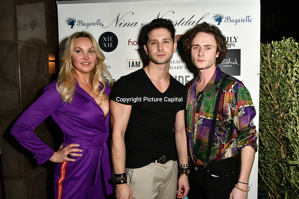 Heather Bird tchenguiz, Oliver smiles and Ben Luke Jones Arrivers at Nina Naustdal catwalk show SS19/20 collection by The London School of Beauty & Make-up at Bagatelle on 26 Feb 2019, London, UK.
