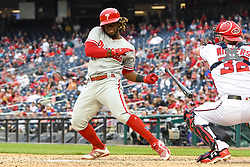 May 6, 2018 - Washington, DC, U.S. - WASHINGTON, DC - MAY 06:  Philadelphia Phillies center fielder Odubel Herrera (37) drops his bat on an inside pitch during the game between the Philadelphia Phillies  and the Washington Nationals on May 6, 2018, at Nationals Park, in Washington D.C.  The Washington Nationals defeated the Philadelphia Phillies, 5-4.  (Photo by Mark Goldman/Icon Sportswire) (Credit Image: © Mark Goldman/Icon SMI via ZUMA Press)