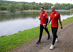 CARDIFF, WALES - Friday, October 7, 2016: Wales' James Chester and David Cotterill during a team walk at the Vale Resort ahead of the 2018 FIFA World Cup Qualifying Group D match against Georgia. (Pic by David Rawcliffe/Propaganda)